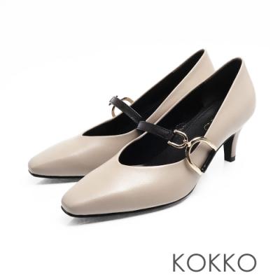 KOKKO - 優雅瑪莉珍羊皮V口D扣高跟鞋-灰色