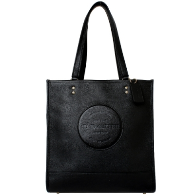 COACH 壓印LOGO荔枝紋皮革方形釦式肩背包(經典黑)