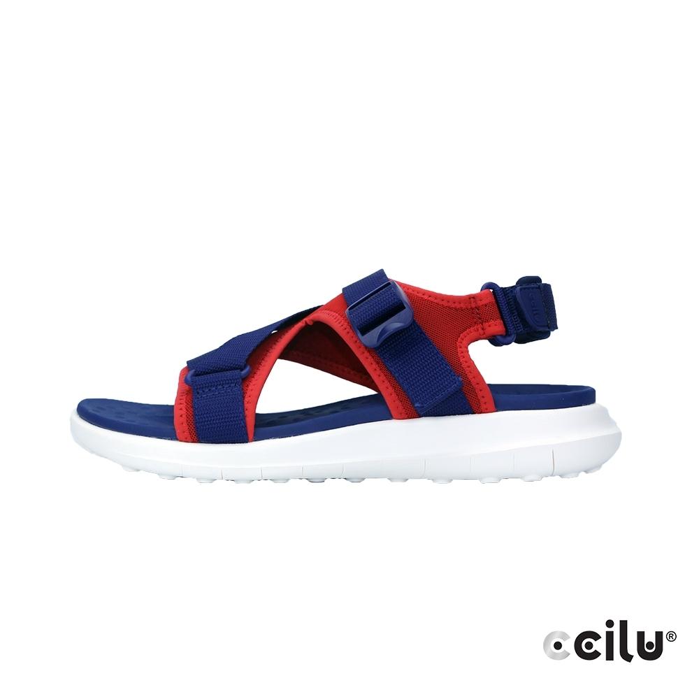 CCILU 撞色彈性網布運動涼鞋-男款-301287104藍色