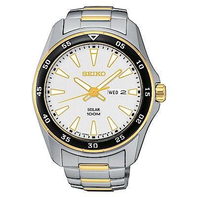 SEIKO 領袖風雙色調太陽能石英腕錶(SNE394P1)白-/43mm