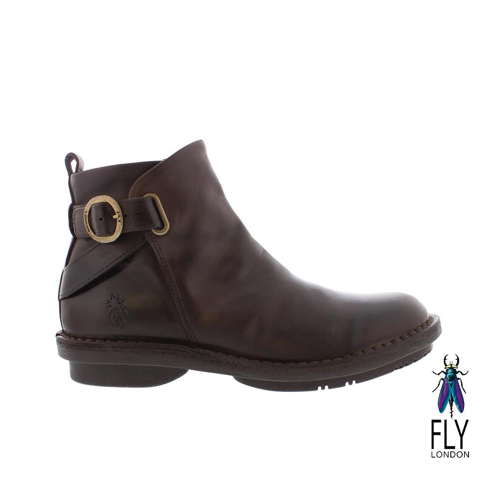 Fly London(女) NEW YORK 牛皮圓扣帥氣拉鍊短靴 - 樹根咖