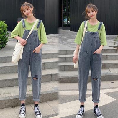 【韓國K.W.】(預購)純淨簡約連身牛仔吊帶褲-1色