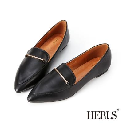 HERLS樂福鞋-一字金屬釦鐶尖頭平底鞋樂福鞋-黑色