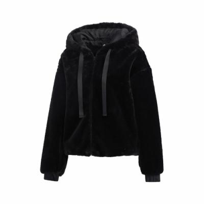 adidas 外套 Style Fur Jacket 休閒 女款 愛迪達 搖粒絨 毛毛 連帽外套 穿搭推薦 黑 GM1468