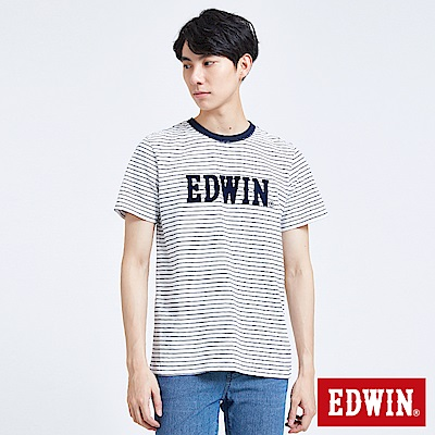 EDWIN 築地系列植絨LOGO短袖T恤-男-白色