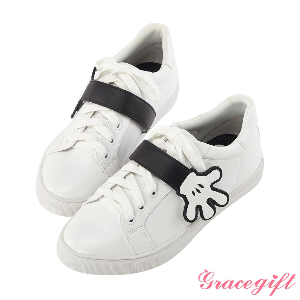 Disney collection by grace gift手造型壓釦休閒鞋-白