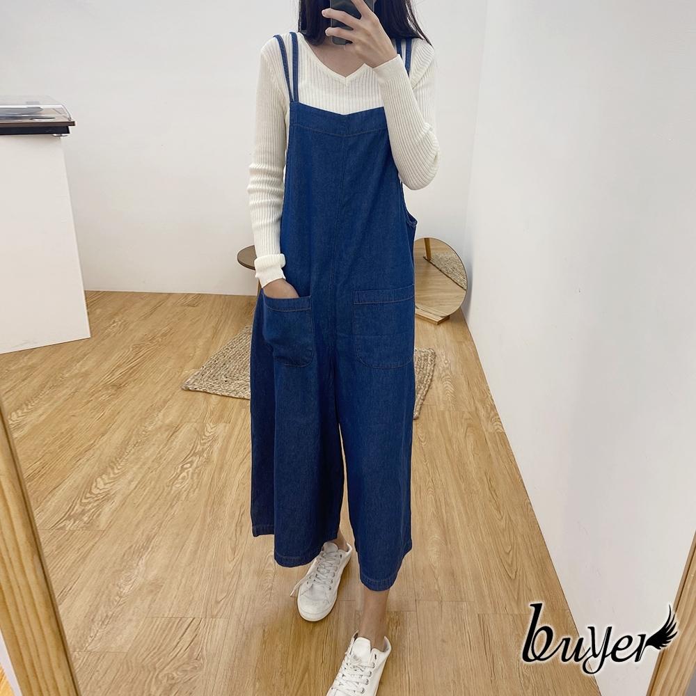 【白鵝buyer】韓國製 休閒純棉吊帶褲(深藍)
