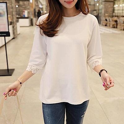 JILLI-KO 花邊蕾絲五分袖T恤- 白色