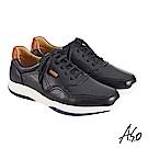 A.S.O機能休閒 萬步健康鞋 綁帶款休閒鞋-黑
