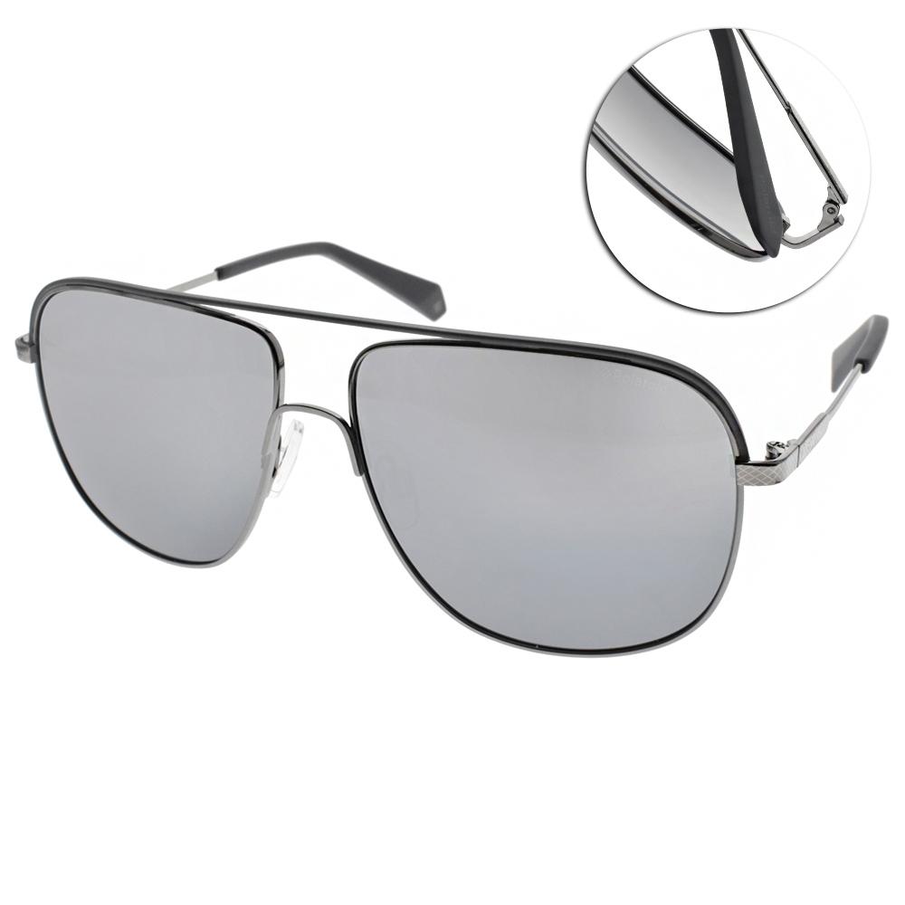 Polaroid 水銀偏光太陽眼鏡 霸氣雙槓款/灰銀 #PLD2055S 6LB1A