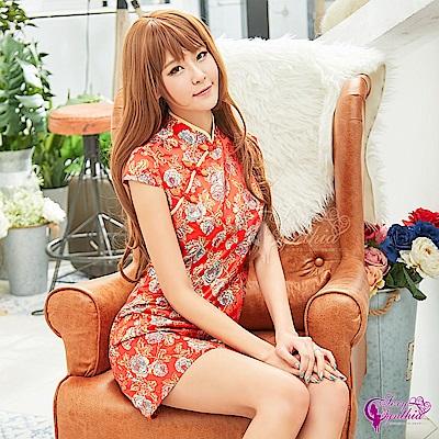 Sexy Cynthia角色扮演 復古紅色系短袖旗袍立領角色扮演服-紅F