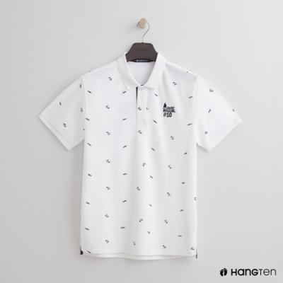 Hang Ten - 男裝 - 海灘滿版印花造型POLO衫 - 白