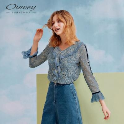 OUWEY歐薇 縷空蕾絲珠飾配色假兩件上衣(白/藍)