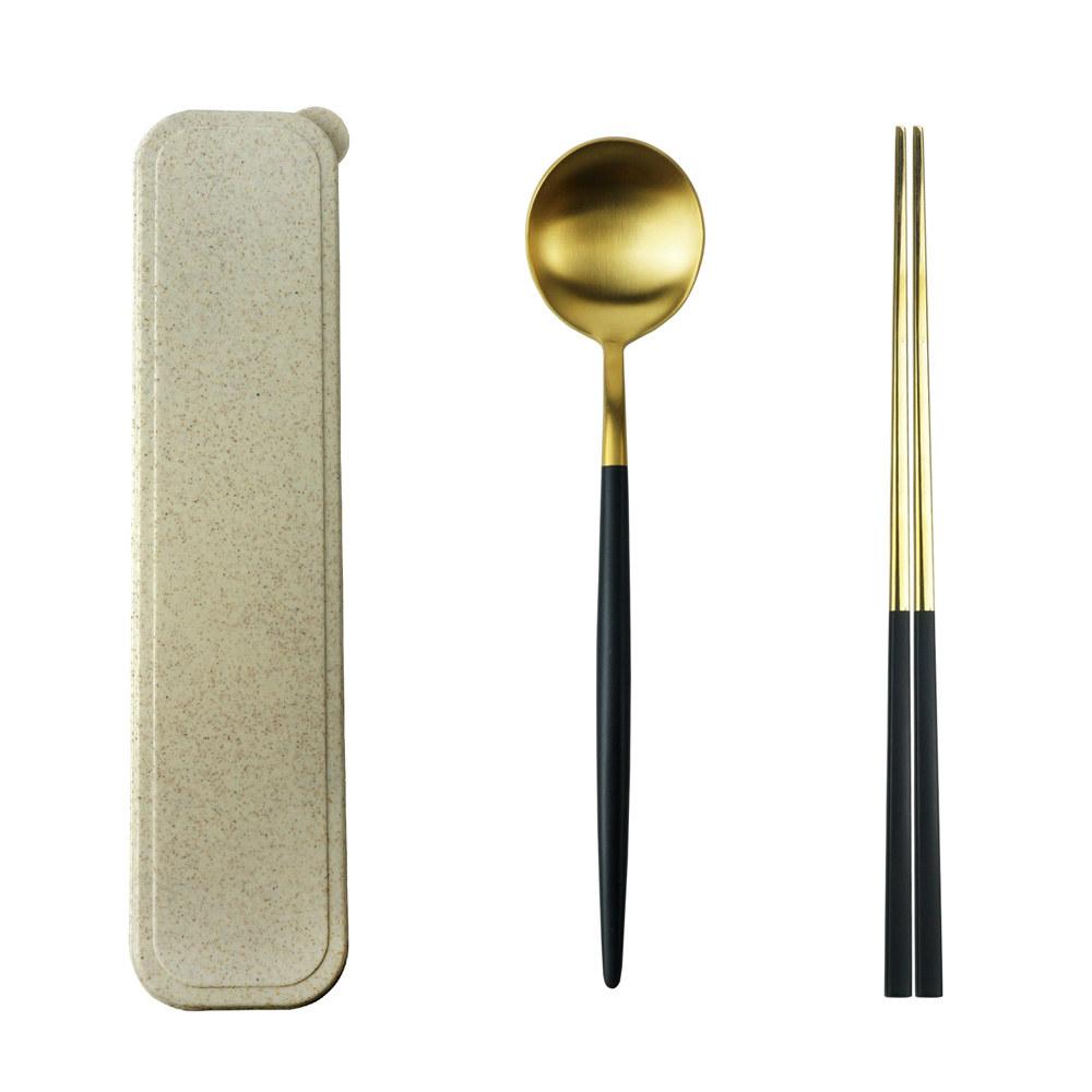 Caldo卡朵生活 小奢華隨身不鏽鋼餐具2件組(附盒) product image 1