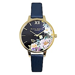 Olivia Burton 英倫復古手錶 魔法花園 深藍色真皮錶帶金框34mm