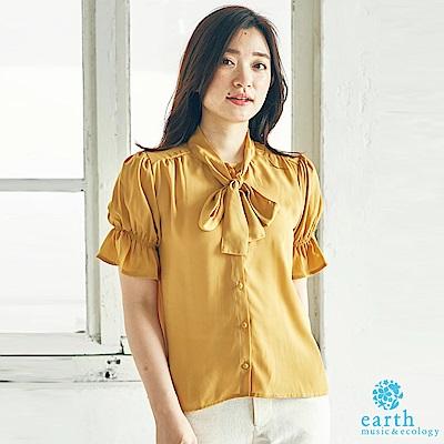 earth music 蝴蝶領結雪紡蓬袖襯衫上衣