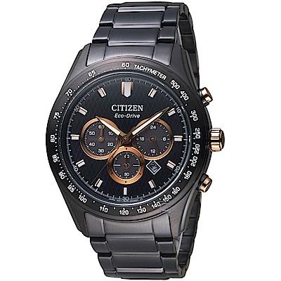 (無卡分期6期)CITIZEN 星辰時刻捕手光動能計時錶(CA4458-88E)-黑鋼