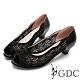 GDC-真皮魚口簍空水鑽低跟鞋-黑色 product thumbnail 1
