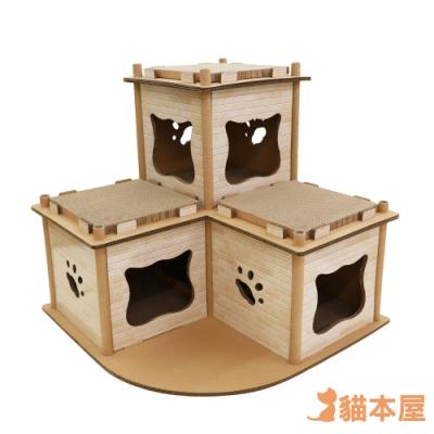 貓本屋 豪宅貓生 豪華升級 貓抓板寵物貓屋-連棟豪宅(印刷)