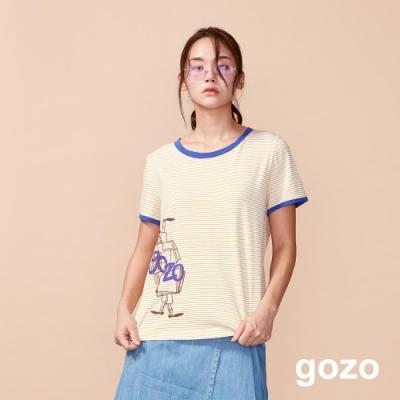 gozo 原創插畫印花配色條紋上衣(二色)