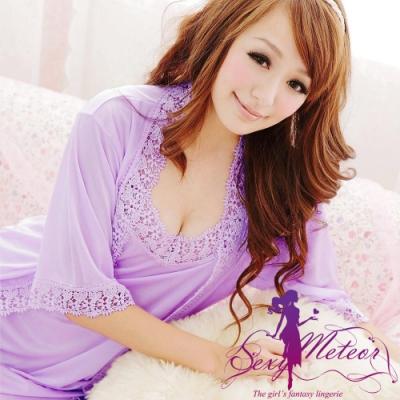 睡衣 全尺碼 花漾蕾絲細肩帶洋裝+睡袍(柔情紫) Sexy Meteor