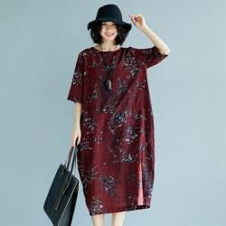 時髦亮點印花棉麻寬鬆連身裙F-Keer