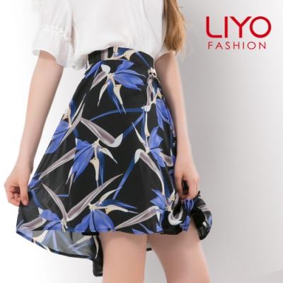 裙子MIT浪漫印花珍珠前短後長顯瘦傘狀裙LIYO理優E813005 S-XL