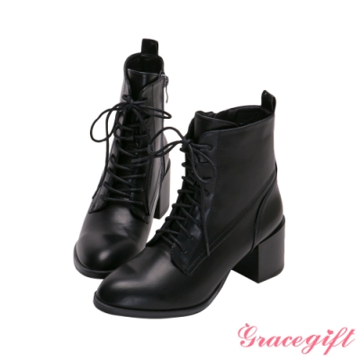 Grace gift-綁帶木紋中跟短靴 黑