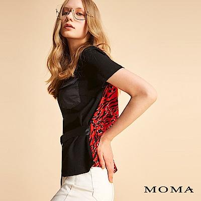 MOMA 口袋印花拼接綁帶上衣