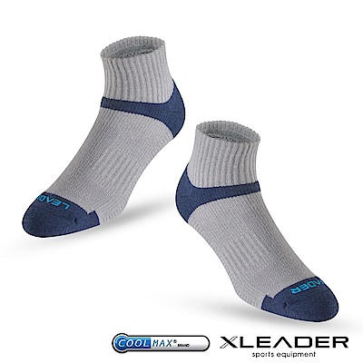 LEADER ST-06 Coolmax專業排汗除臭 機能運動襪 男款 灰藍 - 急