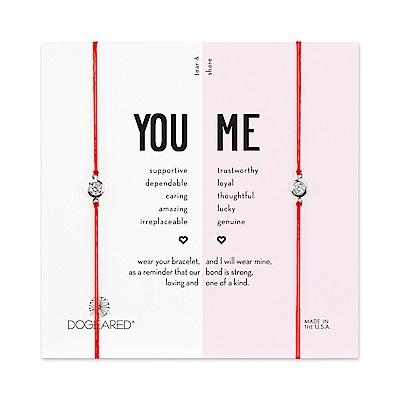 Dogeared 美國品牌 You & Me閃亮圓鑽 銀墜紅線手鍊 對鍊套組