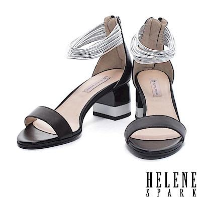涼鞋 HELENE SPARK 摩登多層次繫帶撞色高跟涼鞋-黑