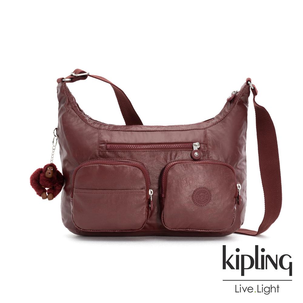 Kipling 雅緻紅褐素面雙層側背包-JARITA