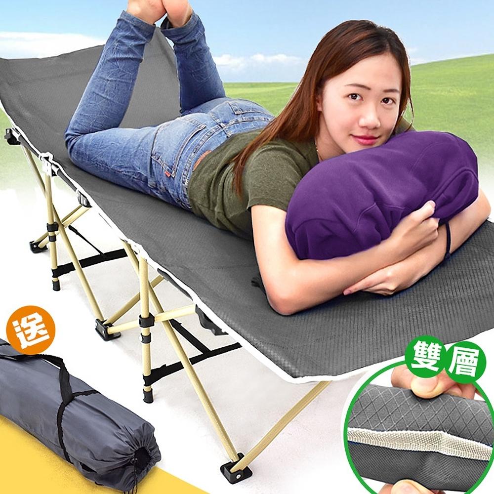 雙層加厚折疊床(送收納袋)   摺疊床折合床摺合床