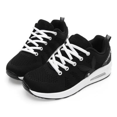 PLAYBOY 簡約舒適針織布綁帶休閒鞋-黑白