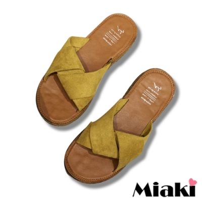 Miaki-拖鞋夏季韓風亮色軟底涼鞋-黃
