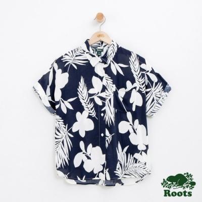 女裝Roots 短袖印花襯衫-藍