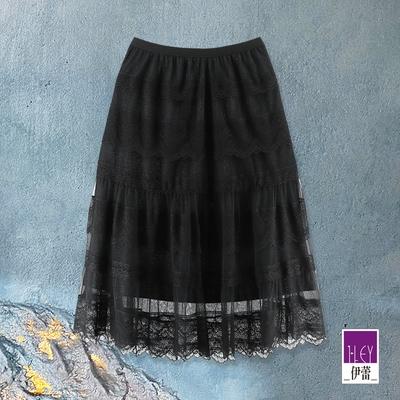 ILEY伊蕾 閃亮內在美甜姐兒蛋糕蕾絲裙(黑)1213022229
