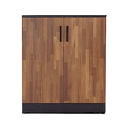 文創集 羅姆時尚2.7尺雙色二門高鞋櫃/玄關櫃-80x32x93cm免組