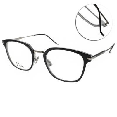 DIOR 眼鏡 經典優雅小貓眼款/霧黑-銀 #AL139O TC0