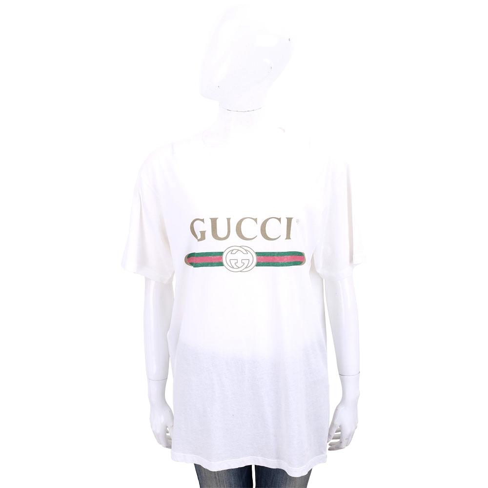 GUCCI 領邊小破損造型設計白色經典LogoT恤