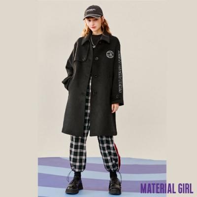 MATERIAL GIRL 巴斯光年黑色刺繡毛呢翻領大衣【20冬季款】-A4502