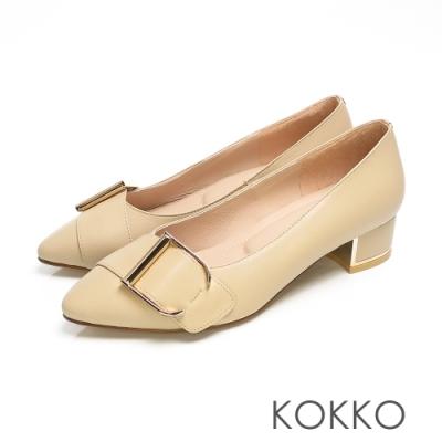 KOKKO - 經典尖頭羊皮鏡面粗跟鞋 - 卡其裸