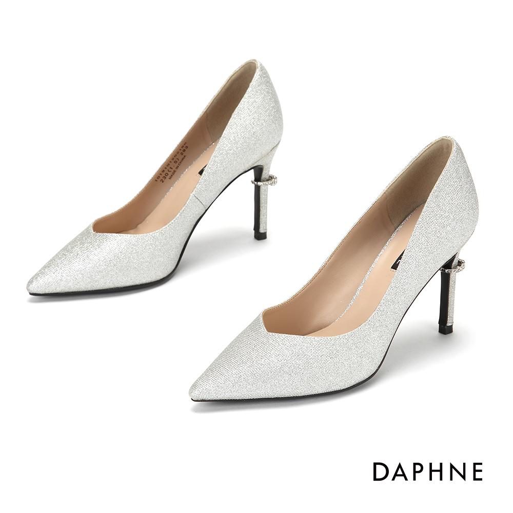 達芙妮DAPHNE 高跟鞋-輕奢夜宴鑽飾高跟鞋-銀