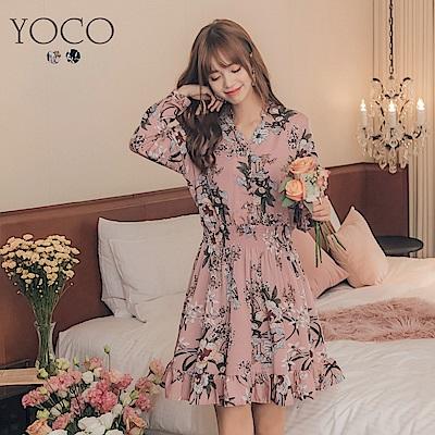 東京著衣-yoco 輕柔甜心排釦腰鬆緊印花長袖洋裝-S.M.L(共二色)