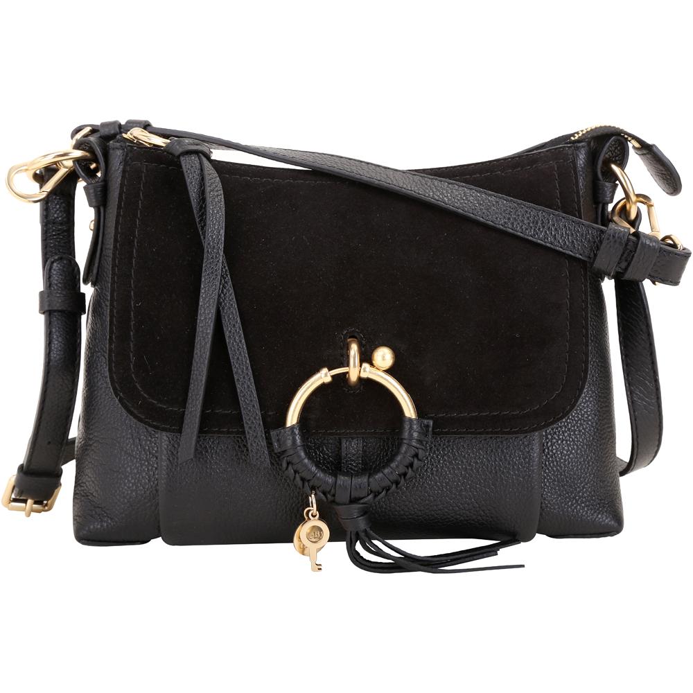 SEE BY CHLOE Joan 中型 編織金屬環拼接皮革手提肩背包(黑色)