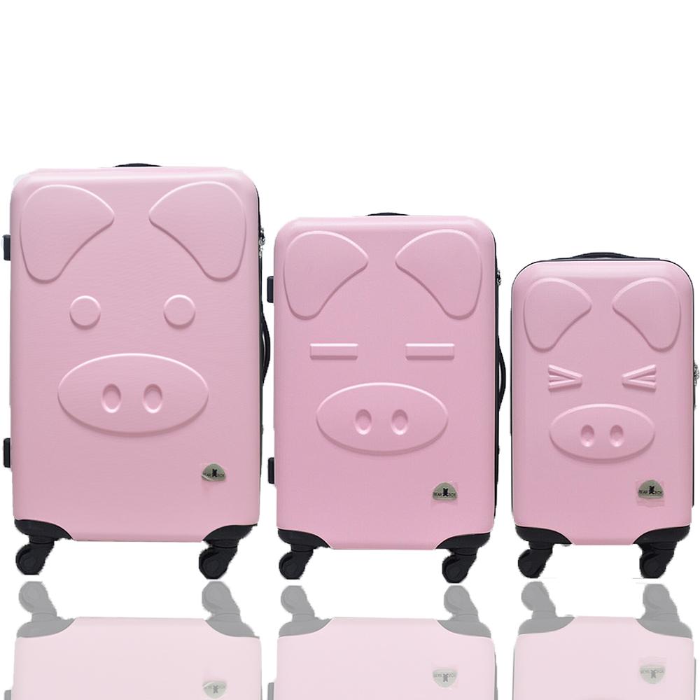 BEAR BOX 三隻小豬之豬事如意系列三件組28吋-24吋-20吋-輕硬殼行李箱-粉紅