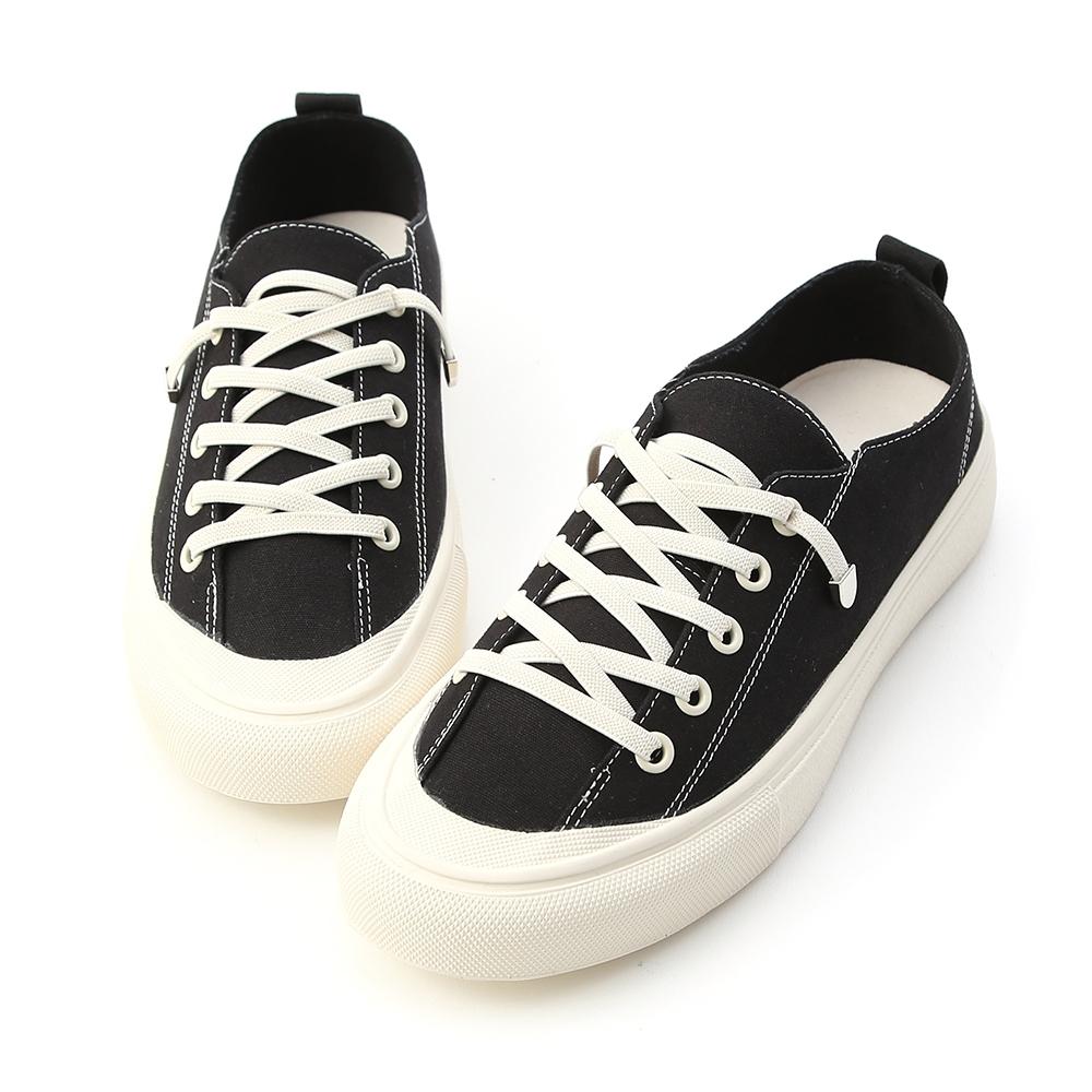 D+AF 舒適日常.鬆緊綁帶休閒帆布鞋*黑