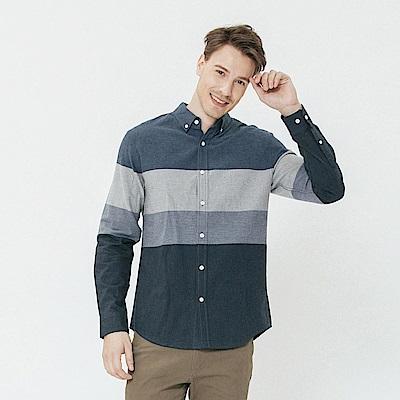 Hang Ten - 男裝 - 簡約色塊拼接襯衫-藍色