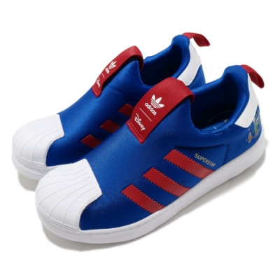 adidas 休閒鞋 Superstar 360 C 套入式 童鞋 愛迪達 三葉草 聯名款 高飛 中童 藍 紅 FW8041